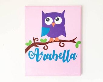 Owl Wall Art, Owl Painting, Owl Nursery Art, Custom Name Sign, Custom