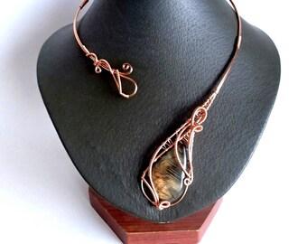 Labradorite Necklace, Copper Necklace, Collar Necklace, Statement Necklace, Unique Necklace, Open necklace