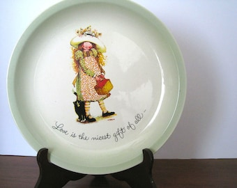 Vintage Plate - Holly Hobbie - Decor - 1973 - Cake Plate - Inspirational Sayings - Porcelain - Collectors Plate - Bonnet Girl