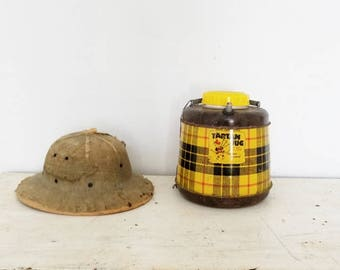 Large Vintage Tartan Brand Thermos Jug Rustic Out Door Metal Thermos Glass Insert Yellow Brown Plaid  Scottish Tartan Yellow Brown Plaid