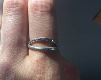 Silver Hammered Eye Ring Size 6.5 Elegant Unique Mystical