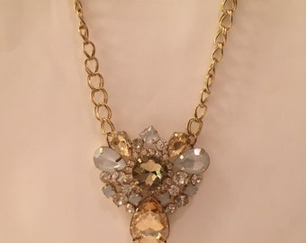 Bejewelled Gold and White Cluster Chain Necklace (Vintage 1960s)