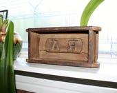 Antique Wood Brick Mold Trinket Box Rustic Shelf Initials RA