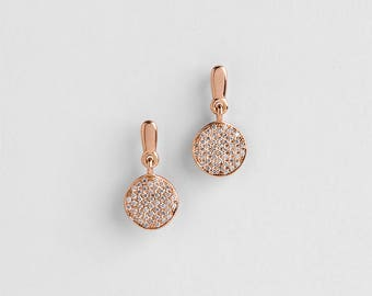 White Diamonds Dangle Earrings, Rose Gold Diamond Earrings, Diamonds Organic Earrings, 18k Rose Solid Gold Earrings, Dangle