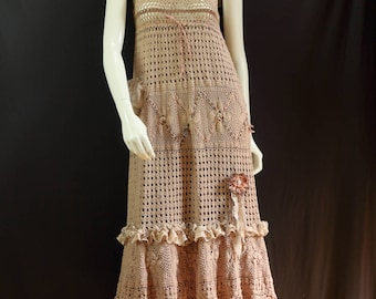 Boho chic long dress Tattered crochet lace dress Refashioned layered dress Cotton pinafore dress Eco friendly artsy clothing Mori girl dress