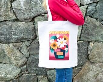 Love Blooms Here Tote Bag, Cotton Tote Bag, Cute Tote Bag, Illustrated Tote Bag