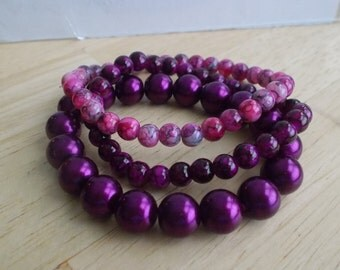 3 Stretch Bangle Bracelets made with Purple Pearl Beads and Purple Glass Beads