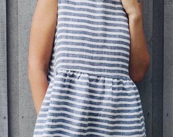 Striped Linen Dress - Linen Dress - Linen Dress Pattern Sleeveless Linen Dress - Loose Fit Dress - High Waist Dress - Handmade by OFFON