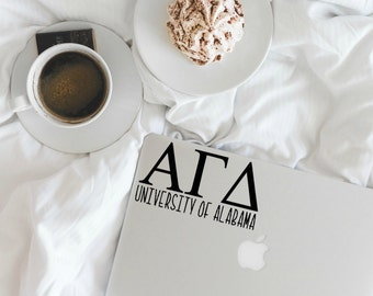 Greek Letters With University Name-Sorority Decal-Sorority Sticker-Any College-Macbook Decal-Laptop Decal-Car Decal-Agenda Stickers-Gift