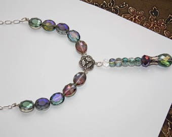 Beautiful Glass & Metal Bead Necklace - Handmade