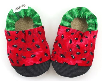 watermelon shoes baby rubber sole booties rubber toe watermelon clothing accessories baby girl shoes soft sole vegan shoes toddler shoes