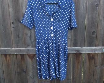SALE Vintage Blue & White Polka Dot Culotte Romper // Summer Playsuit // Vintage Beachwear // Button Front // Rockabilly // Culotte