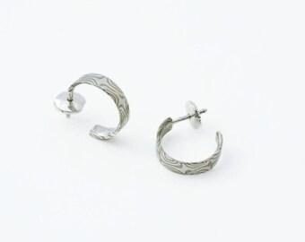 Creolus - Mokume Gane gold/Palladium Silver Earring