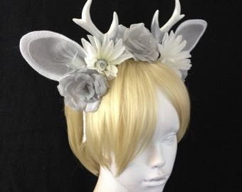Winter Antlers Headband with Silver Roses, Daisies  / Deer Ears / Faerie Costume / Faun Cosplay / Ready to Ship
