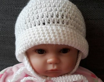 Handmade baby winter hat, new born helmet syle hat, crochet reborn winter pom pom hat