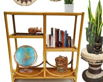Vintage Bamboo Etagere Bamboo Bookshelf Curio Display Stand Bookcase Bamboo  Rattan Furniture Bohemian Decor Room Divider