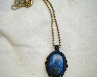 Mystic Labradorite macrame necklace. Dark tribal steampunk macrame pendant.