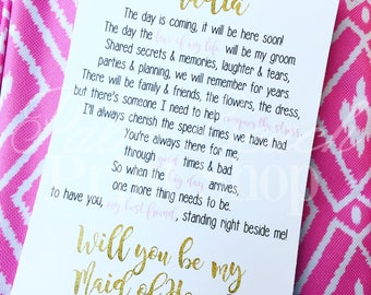 FREE SHIPPING Gold Glitter Personalized Maid of Honor Card - Maid of Honor Ask Gift - Maid of Honor Flat Greeting Card - Bridesmaid Poem