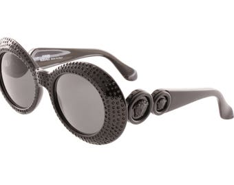 Gianni Versace 418 E rarest total black sunglasses, frames fully set with rhinestones with matte black double medusa temples.