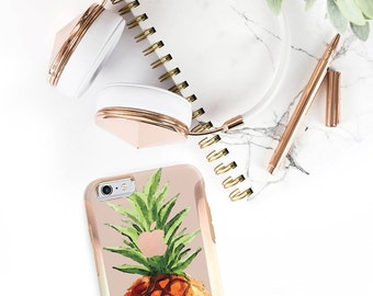 Pineapple and Rose Gold Hard Case Otterbox Symmetry iPhone 6 / iPhone 7 / Galaxy S7 , Galaxy S8 , Galaxy S8 Plus - Platinum Edition