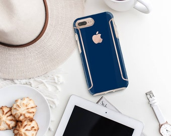 Navy Blue iPhone Case and Rose Gold Detailing - Otterbox Symmetry iPhone 6 / iPhone 7 / iPhone 8 / iPhone X - Platinum Edition