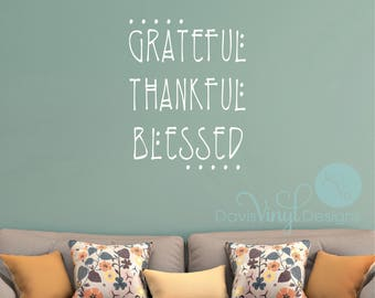 Grateful Thankful Blessed Wall Decal, Thanksgiving Decor, Holiday Decor, Holiday Wall Decals, Thanksgiving Decals