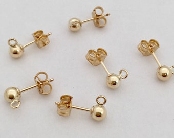 4mm Ball Bead Earring Post 10pcs 14k Gold Filled ear post with butterfly earring backing E29g