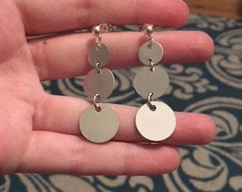 Silver Disc Dangle Drop Fishhook Earrings