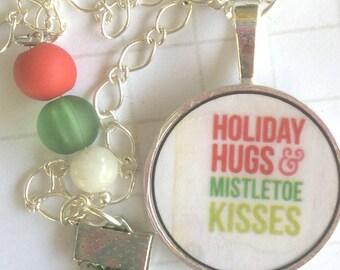 Missletoe Key Holder, xmas keyring, christmas planner accessory,  handmade keyring, festive gift idea, personalised keyring, christmas