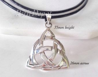 Triquetra Necklace Sterling Silver Celtic Knot Pendant Trinity Knot  Silver Triquetra Large Celtic Pendant 925 Silver