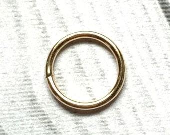 14K Gold Nose Ring, 12 to 24 Gauge, Gold Earring, Gold Cartilage Ring, Gold Septum Ring 12g 14g 16g 18g 20g 22g 24g, Real Gold Nose Ring
