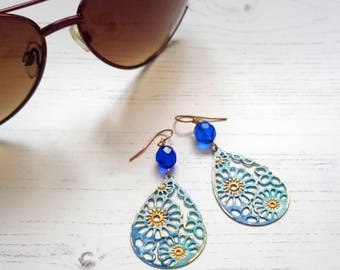 Sun Kissed Filigree Blue and Gold Dangle Earrings, Hand Painted Summer Shine OOAK Earrings Unique gift