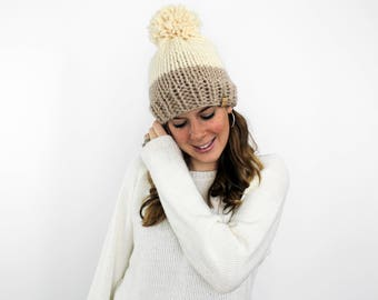 Knit Hat, Bobble Hat, Pom Knit Slouchy Hat- Annapolis Hat