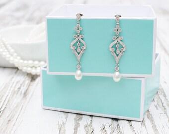 Vintage Style Pearl Bridal Earrings | Rose Gold Jewelry | Yellow Gold Pearl Earrings | Pearl Wedding | Pearl Dangle Earrings | Weddings