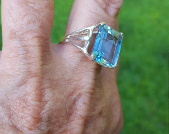 topaz ring size 9 1970's 11ct genuine natural EMERALD CUT RARE topaz designer signed estate vintage sterling ring