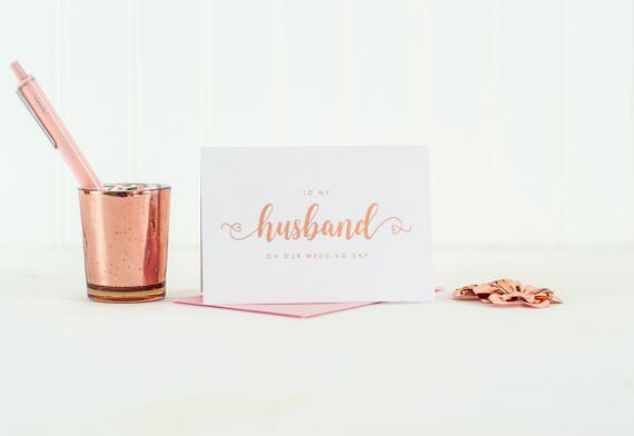 To My Husband on our Wedding Day card Rose Gold Foil To My Groom Card Wedding Day Card Wedding Thank You card Wedding Day Gift husband card