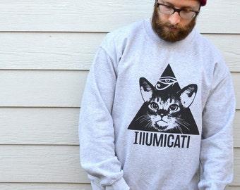 Illumicati Cat Sweatshirt, Cat Jumper In Sports Grey, In Sizes S, M, L And XL