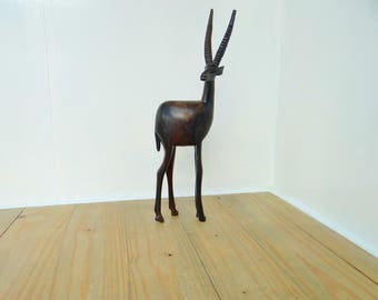 Vintage Wooden African Antelope,Hand Carved,Dark Wood,Free Standing Ornament