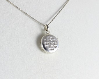 Sterling Silver Locket Inspirational Mom Necklace 18 inch chain