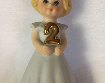Vintage Growing Up Girl Second Birthday Figurine