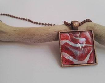 Rose Pendant - Hand-Painted Original - Abstract Flower Pendant - Wearable Art - Red Rose Necklace