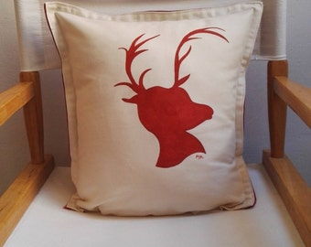 Reindeer Throw Pillow - Hand Painted Reindeer Cushion - Reindeer Silhouette - Festive Decor