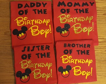 Disney Mickey Mouse Birthday Party Custom Matching Shirts/Mickey Mouse/Minnie Mouse Inspired with Glitter option Available/Personalized