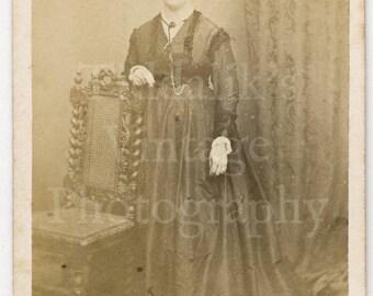 CDV Photo Victorian Young Pretty Woman Long Dress Standing Portrait by C H Falkenstein of France - Carte de Visite Antique Photograph