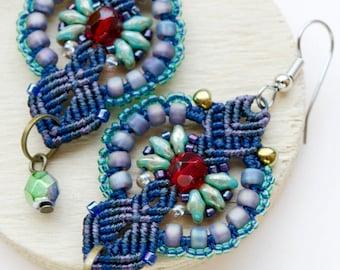 Micro-macrame earrings, beaded, bohemian, elegant, long, dangle, macrame jewelry, beadwork, beadwoven, blue turquoise, gift idea for her