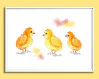 Wall art, home decor limited edition nursery print, three cute chicks from original painting by Paula Jeffery