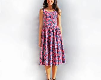 50s Floral Dress, Vintage Laura Ashley Dress, Pink Floral Dress, Full Skirt Dress, Day Dress, 50s Cotton Dress, Fit + Flare Dress, Midi Gown