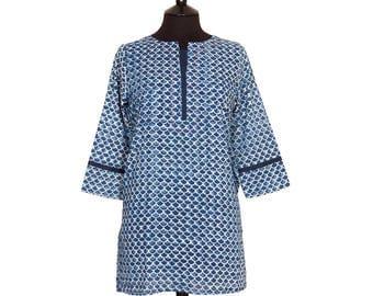 LONG KURTA TOP – All sizes – Style 6 - Indigo with off white scallop design – 100% lightweight cotton