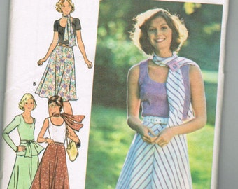 OOP Vintage Butterick 4149 Misses Top Skirt and Scarf
