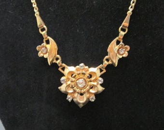 Vintage Barclay Gold Tone Necklace with Rhinestones Choker Chain Pendant Signed